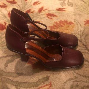 BCBG Burgundy Leather Ankle Strap Heel NWOT